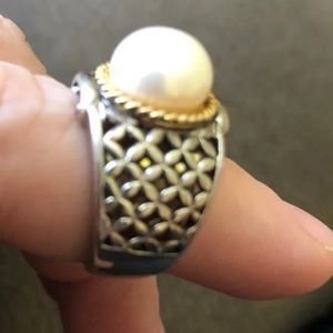Jewelry - Faux Pearl on sterling silver ring